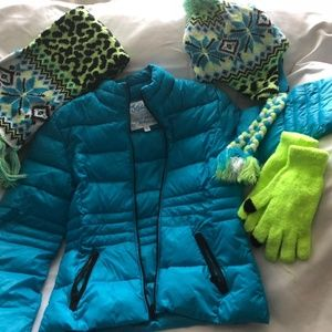 Justice Girls Turquoise Light Puffer Jacket